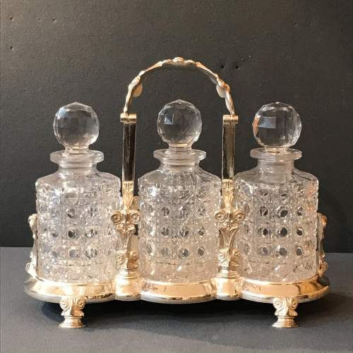 19th Century English Silver Plated Decanter Set image-1