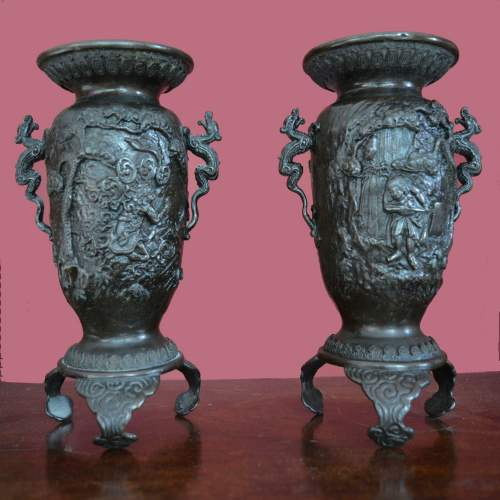 Fine Pair of Chinese Bronze Vases image-1