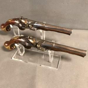Pair of Brass Mounted Flintlock Pistols