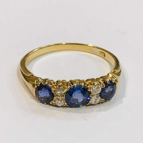 Late 19th Century 18ct Gold Diamond and Sapphire Ring image-1