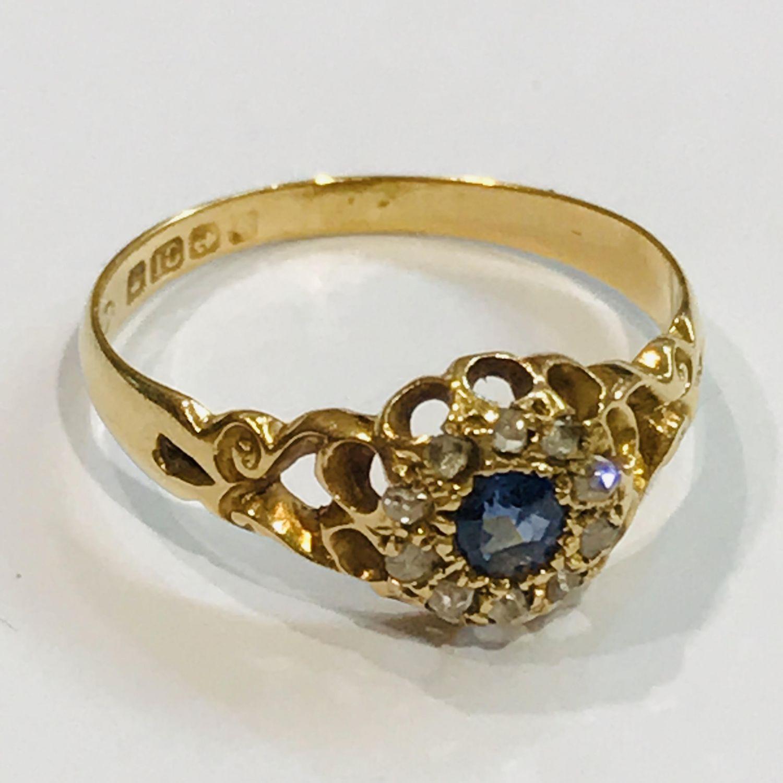 f24840e9ecba4 18ct Gold Diamond and Sapphire Cluster Ring