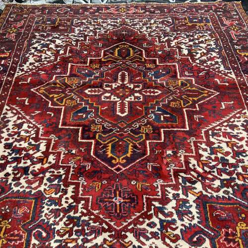 Superb Old Hand Knotted Persian Rug Heriz With Central Medallion image-1