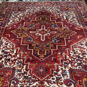 Superb Old Hand Knotted Persian Rug Heriz With Central Medallion