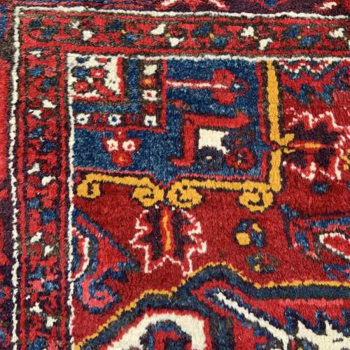 Superb Old Hand Knotted Persian Rug Heriz With Central Medallion image-5