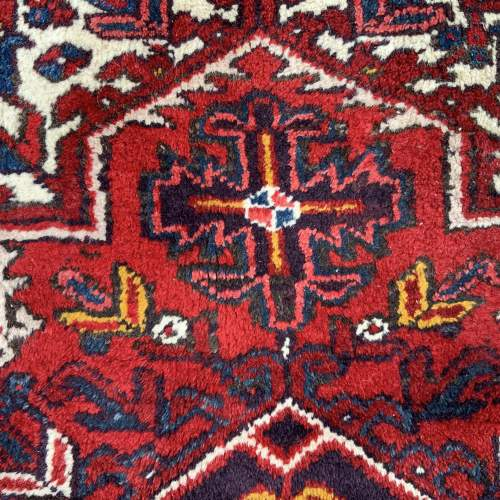 Superb Old Hand Knotted Persian Rug Heriz With Central Medallion image-6