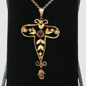 Antique 9ct Gold Pearl and Almadine Garnet Pendant Necklace