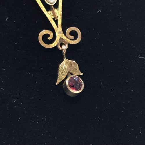 Antique 9ct Gold Pearl and Almadine Garnet Pendant Necklace image-3