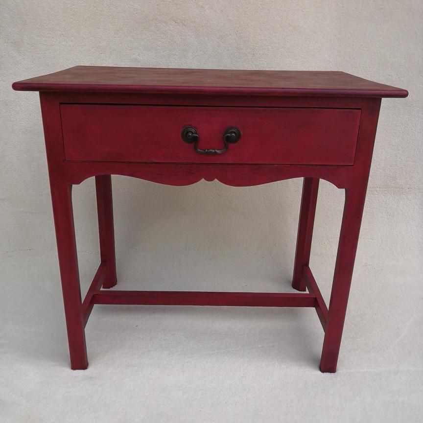Cool Vintage Small Red Painted And Waxed Table With Drawer Home Interior And Landscaping Dextoversignezvosmurscom