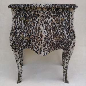 Vintage Bombe Shape Drawers covered in Faux Fur. Circa 1980