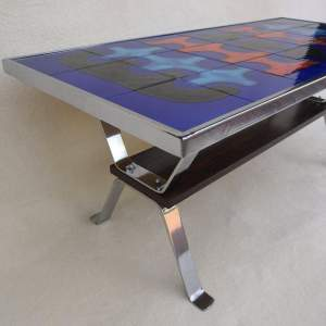 French Retro Chrome Tile Top Coffee Table. Circa 1960. Signed.