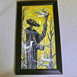 Original Embroidery Collage of St.Francis and the Birds by R.Murray