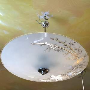 1950s Cut Glass and Chrome Ceiling Light