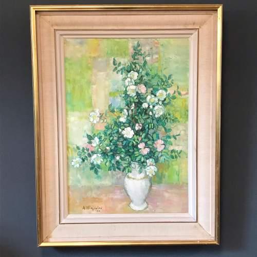 Vase de Fleurs Oil on Canvas by Andre Vignoles image-1