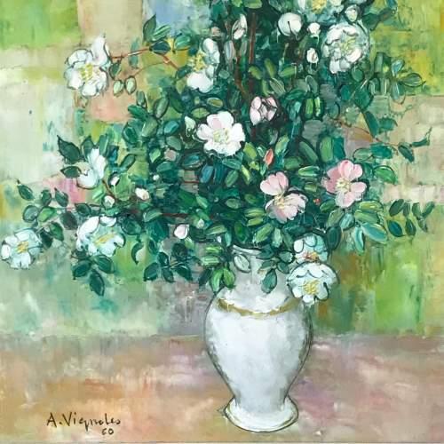 Vase de Fleurs Oil on Canvas by Andre Vignoles image-3