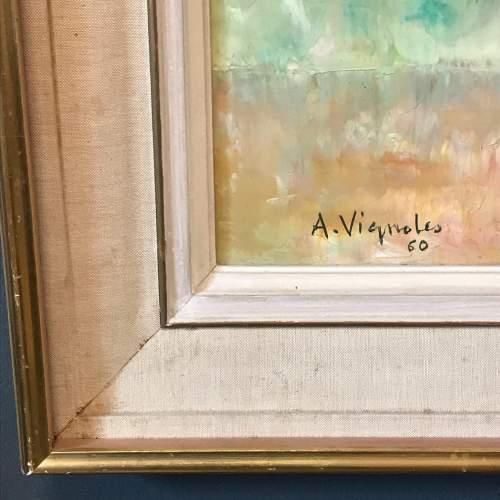 Vase de Fleurs Oil on Canvas by Andre Vignoles image-4