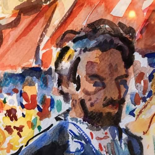 Market Place Scene Watercolour by Freek Van Den Berg image-2