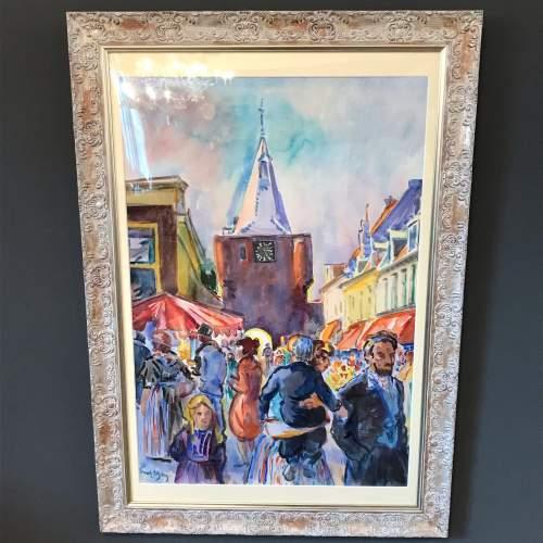 Market Place Scene Watercolour by Freek Van Den Berg image-1