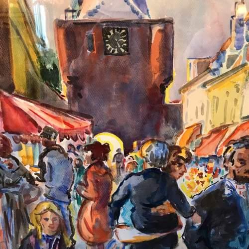 Market Place Scene Watercolour by Freek Van Den Berg image-3