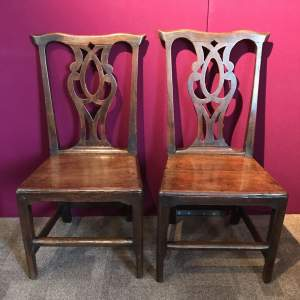 Fine Pair of 18th Century Chippendale style Oak Chairs