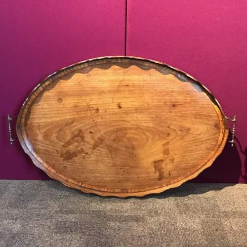 George III Period Mahogany and Tulipwood Banded Tray image-1