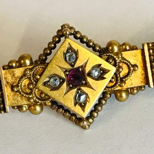 Antique Gold and Diamond Bar Brooch image-2
