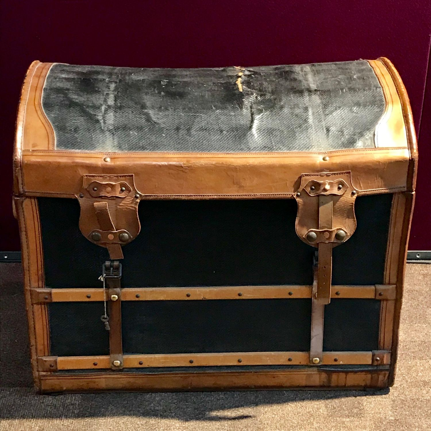 Large Leather Bound Dome Topped Trunk