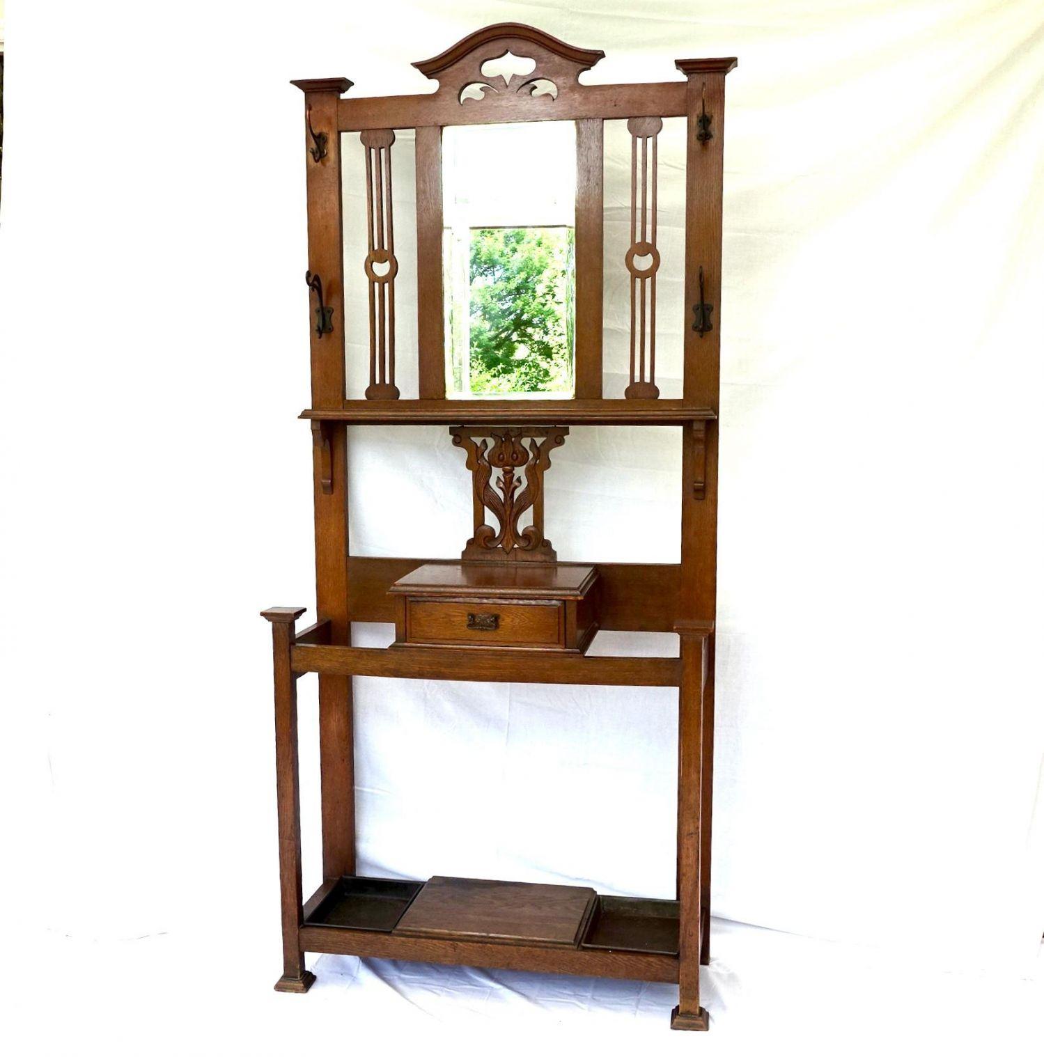 Art Nouveau Oak Hall Stand Furniture Etc Hemswell Antique Centres