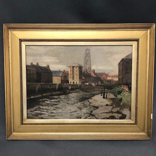 Oil on Canvas Painting of a View of Boston Lincolnshire image-1