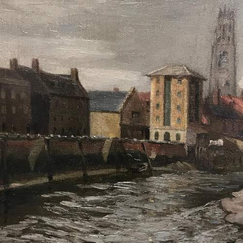Oil on Canvas Painting of a View of Boston Lincolnshire image-2