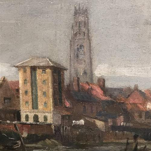 Oil on Canvas Painting of a View of Boston Lincolnshire image-3