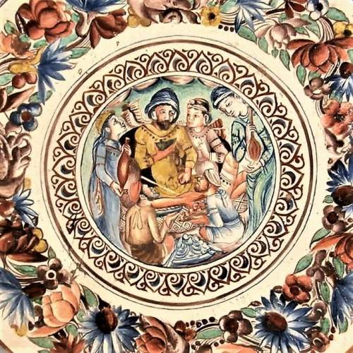 Exquisite 19th Century Continental Handpainted Slipware Pottery Charger image-2