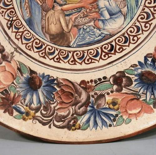 Exquisite 19th Century Continental Handpainted Slipware Pottery Charger image-3