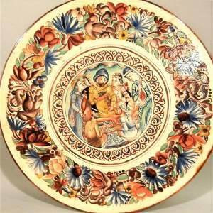 Exquisite 19th Century Continental Handpainted Slipware Pottery Charger