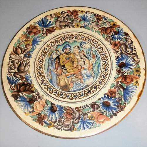 Exquisite 19th Century Continental Handpainted Slipware Pottery Charger image-4