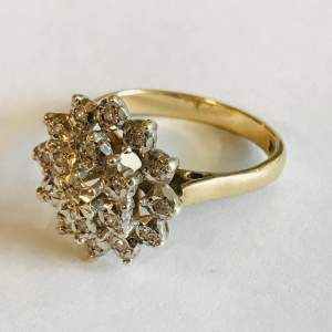 Vintage 9ct Gold Tiered Diamond Cluster Ring