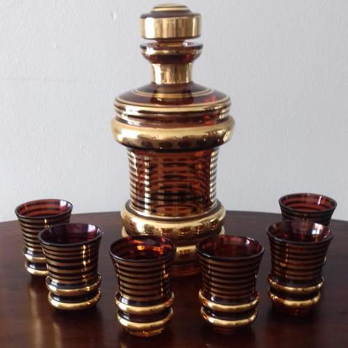 Art Deco Decanter and Six Matching Liqueur Glasses image-1