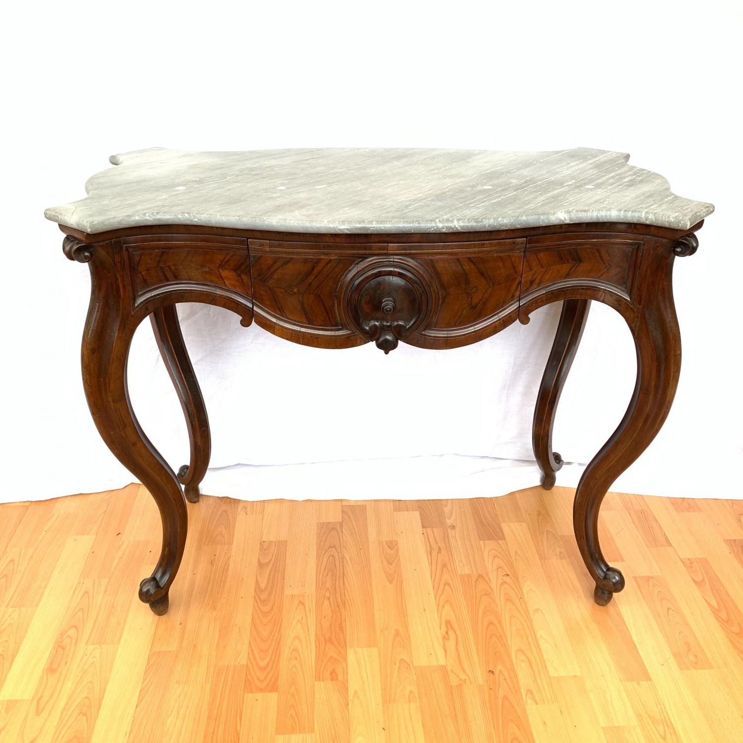 Marble And Walnut Maltese Side Table