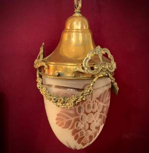 Unusual French Glass Lantern with Brass Eternal Bow Garlands
