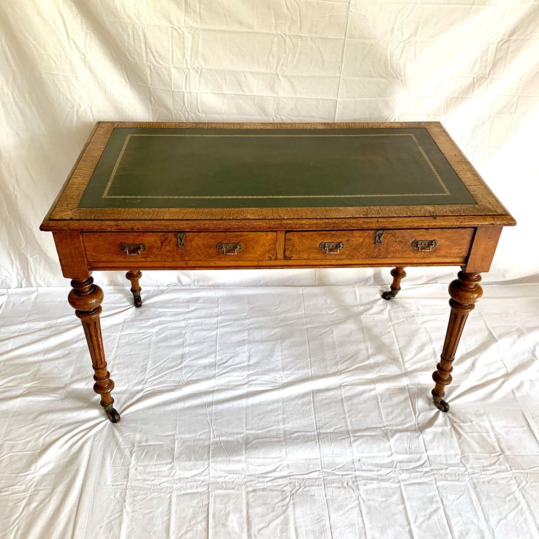 Victorian Pollard Oak Writing Table