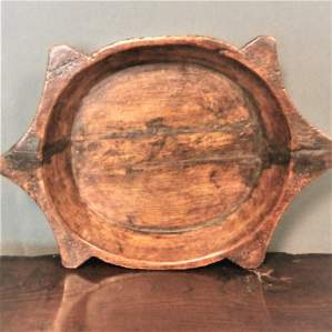 Fine Pacific Hard Wood Rice Bowl Carved in the form of a Turtle
