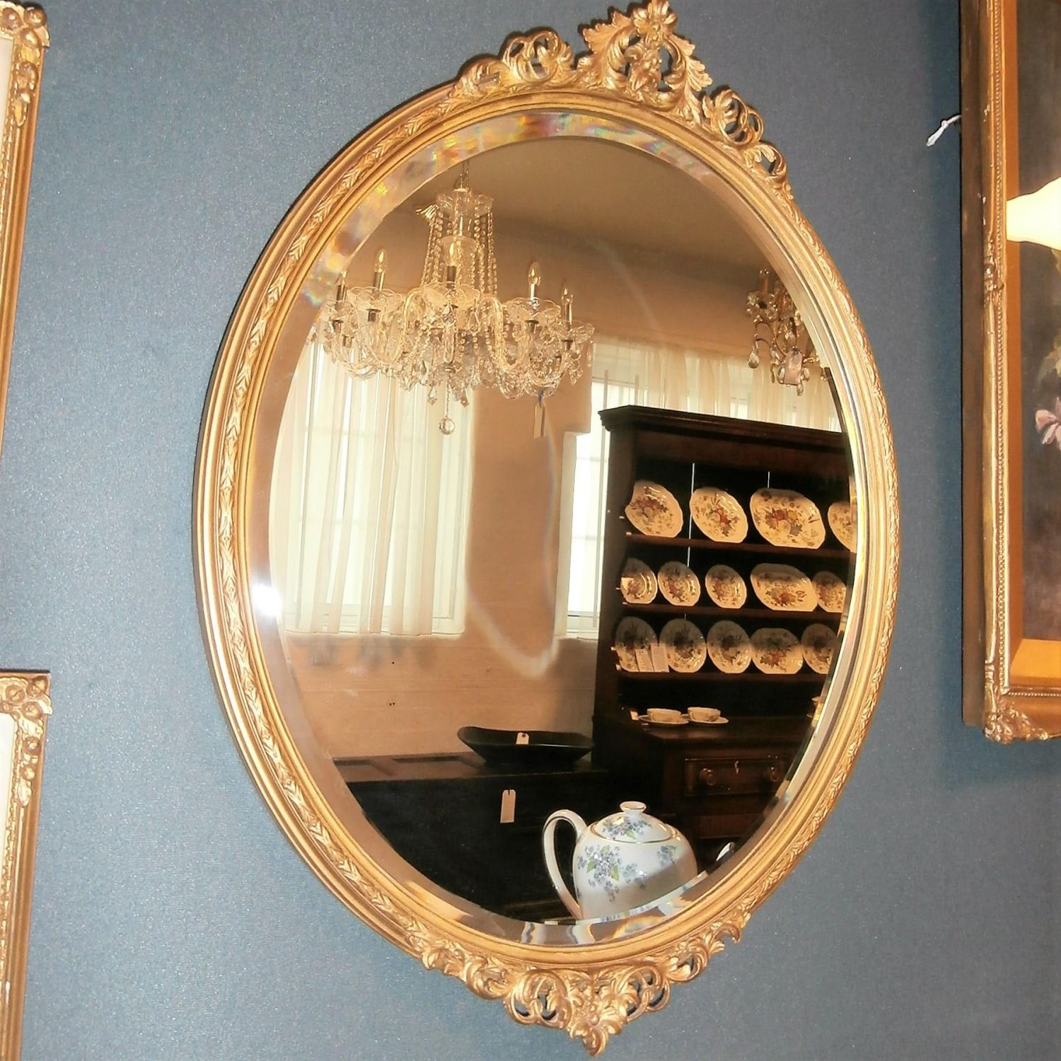 Oval Bevelled Wall Mirror in Decorative Gilt Wooden Frame ...