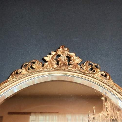 Oval Bevelled Wall Mirror in Decorative Gilt Wooden Frame image-2