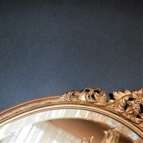 Oval Bevelled Wall Mirror in Decorative Gilt Wooden Frame image-3