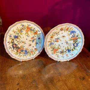 A Matching Pair of French Faience Plates Circa 1900