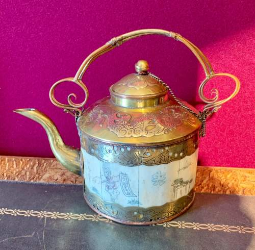 A Cambodian Brass and Copper Teapot image-2