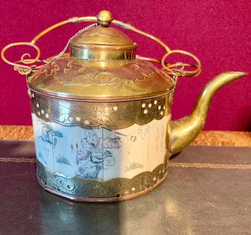 A Cambodian Brass and Copper Teapot image-1