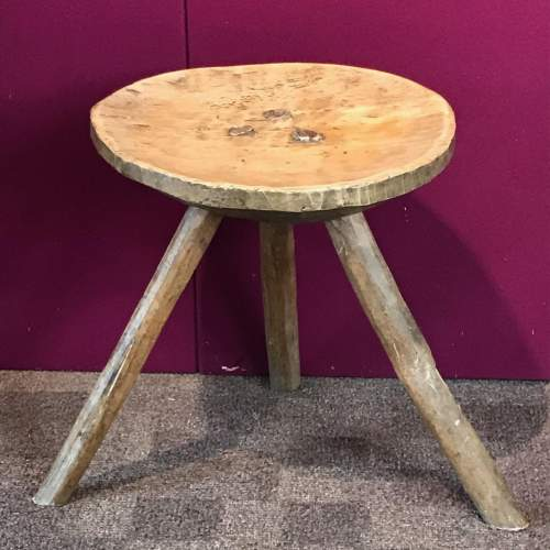 Early 19th Century Sycamore and Ash Stool image-1