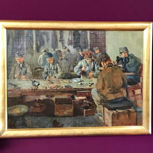 Early 20th Century Oil on Board of Soldiers at a Work Bench image-1