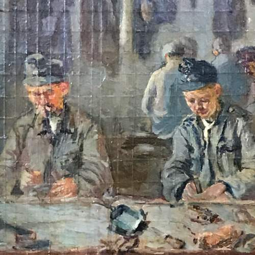 Early 20th Century Oil on Board of Soldiers at a Work Bench image-2