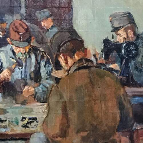 Early 20th Century Oil on Board of Soldiers at a Work Bench image-3